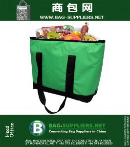 Insulated Grocery Bag Shopping Tote with WATERPROOF LINING and ZIPPER Closure - Extra Large Heavy Duty Nylon