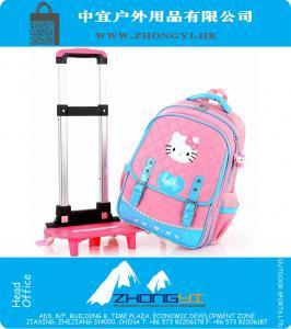 1e7825ac7b83d Kinder-Trolley Schulranzen für Mädchen Hallo Kitty Koffer auf Rädern  Karikatur wasserdichte Kinder-Schule