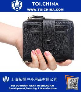 RFID Mini Soft Leather Wallet With ID Window Card Sleeve Coin Purse