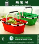 Outdoor Folding Picnic Basket Food Storage Basket Portable Shopping Tote Bag Aluminum Frame Convenient Travel Tools